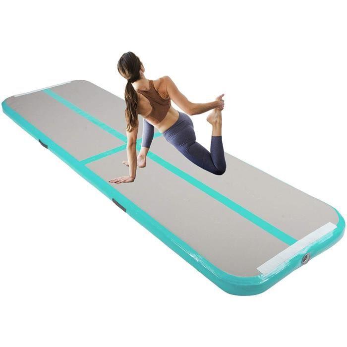Tapis de Gymnastique Gonflable Airtrack Gymnastique PVC Tapis de Tumbling 600 x 100 x 10 cm sans Pompe pour Yoga/Taekwondo Vert