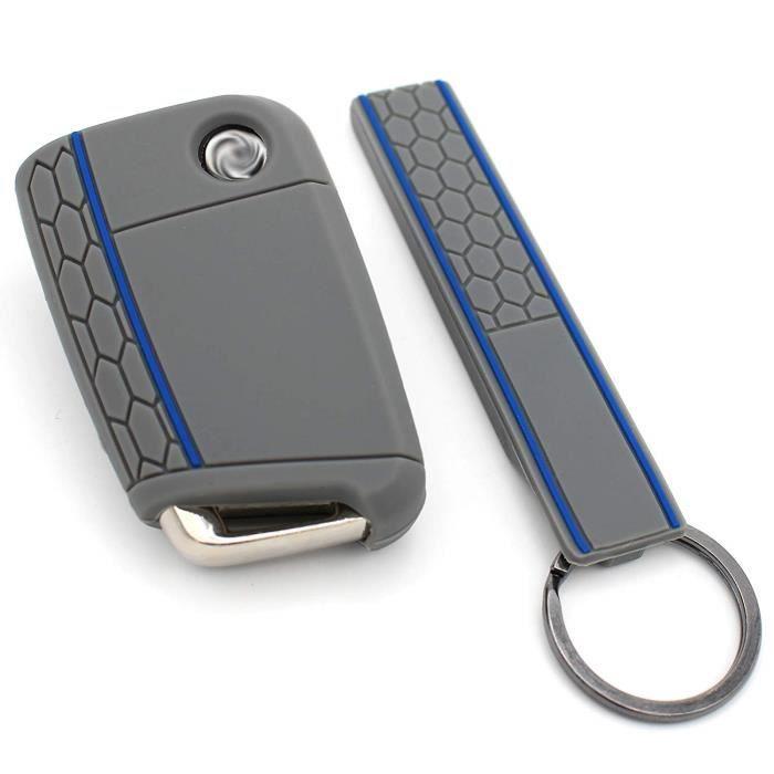 Finest-Folia - Coque en silicone VB pour clé de voiture à 3 boutons Aschgrau Blau 758