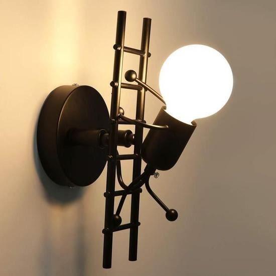 Applique Murale Interieur, E27 Créatifs Applique Murale Rétro Vintage Lampe murale Noir Moderne Individuels Applique Métal Lampe