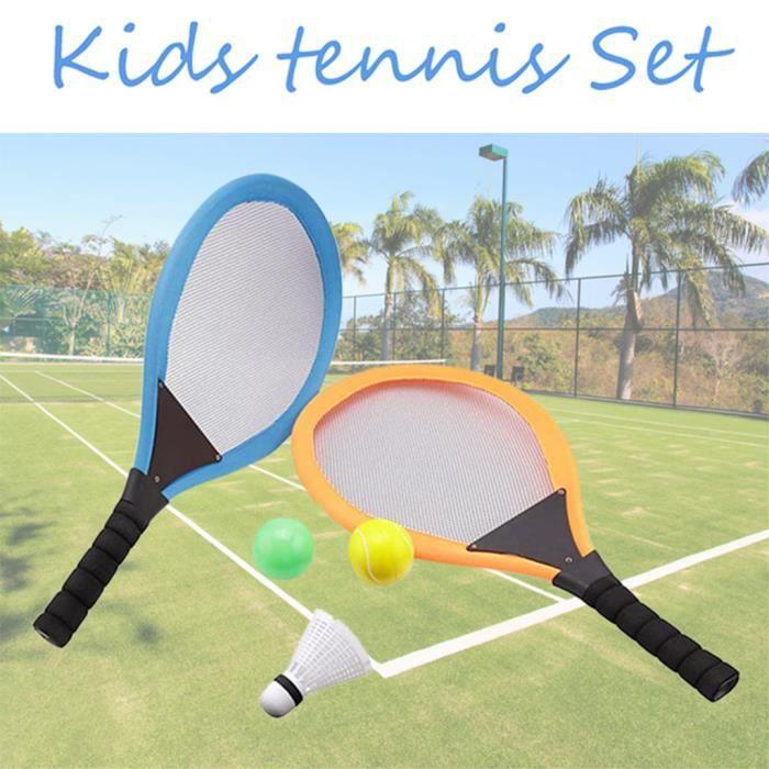 2pcs enfants sports de plein air jouets raquette badminton raquette de tennis mini badminton net_rhw527