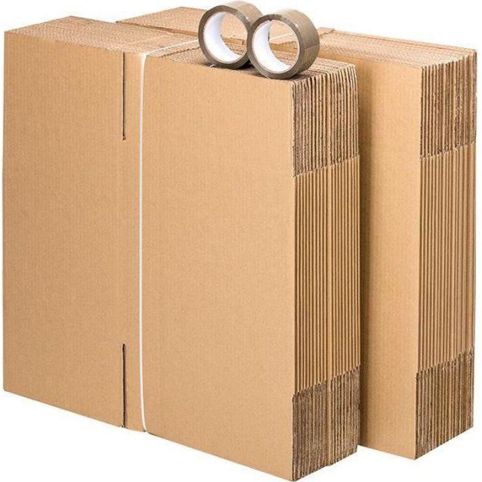 Pack 30 cartons à livres avec poignées + 2 adhésifs offerts