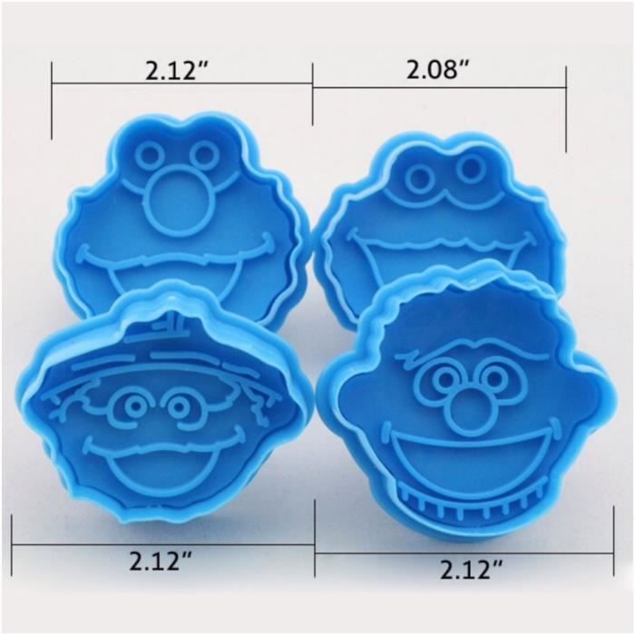 Stamp Multicolor 3D Sesame Street Elmo Cookie Cutter Biscuit Hand Press Plunger Cutter Mold