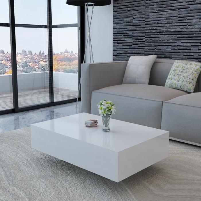 Table basse rectangulaire laquée haute brillance Blanc 85 cm MDF