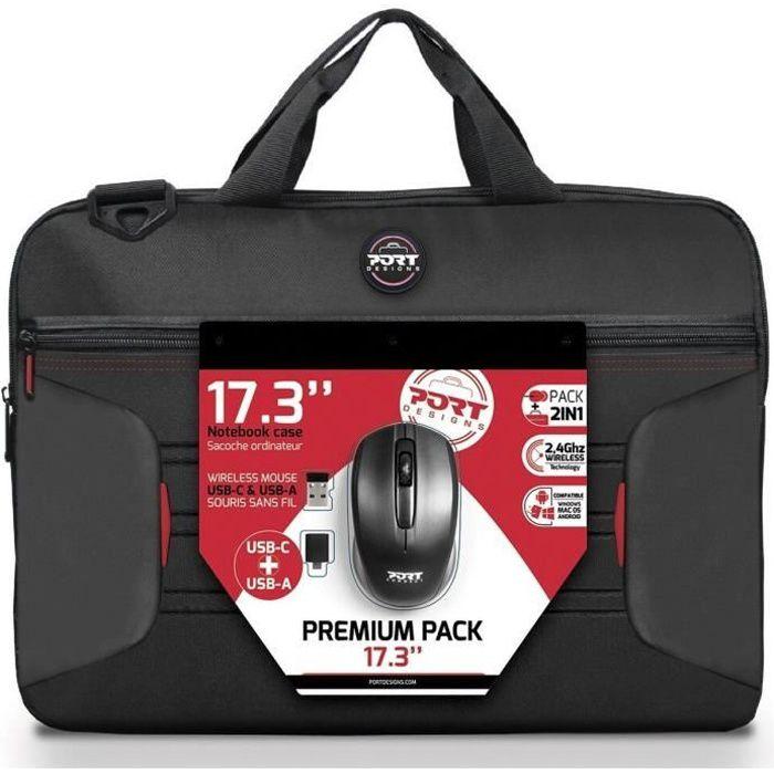 PREMIUM PACK : Sacoche pour PC Portable 17- + Souris sans fil + Dungle USB & Adaptateur Type C