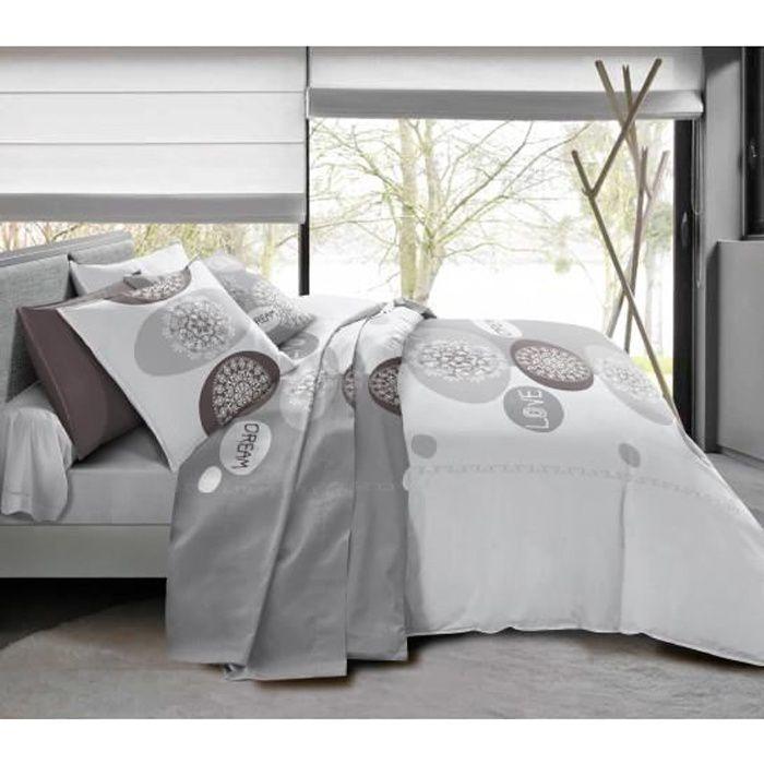Pack complet Dream housse de couette pour lit 140 x 190 cm 100% coton / 57 fils/cm²