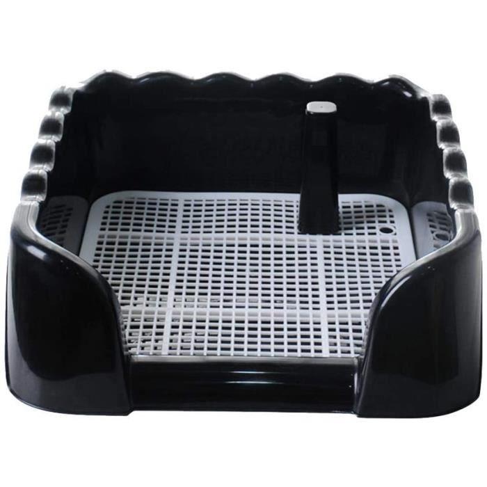 Bac de Toilette Portable pour Animal Domestique avec clôture pour Chiens, Utilisation en intérieur ou en extérieur, Noir