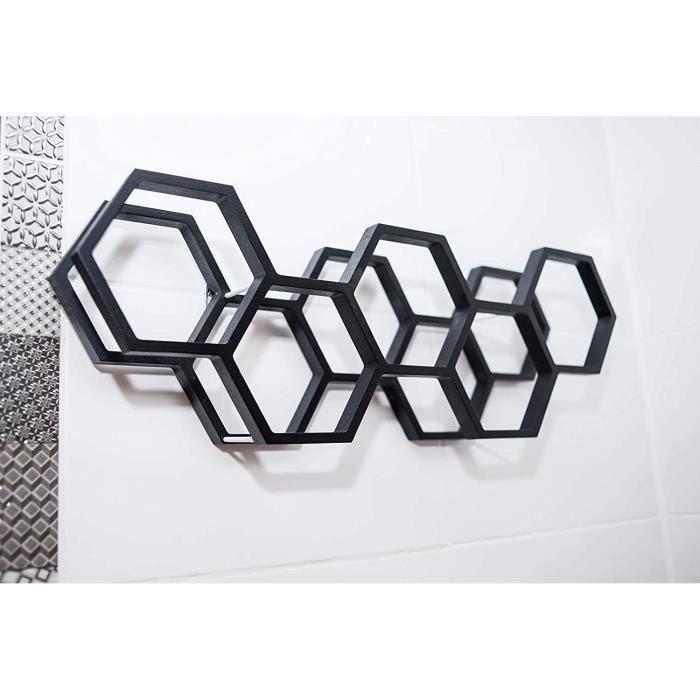 Étagère murale porte-papier toilette en bois Motif nid d'abeille, noir[146]