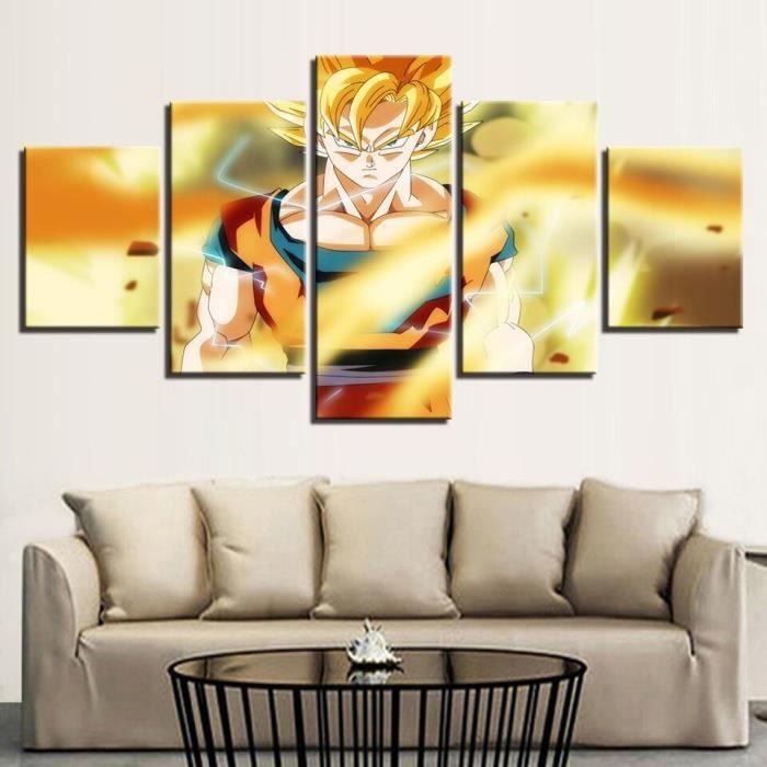 LB19730 Toile mur Art photos 5 pièces Dragon Ball Z Anime peintures décor à la maison pour salon HD imprime dessin animé affiches ca