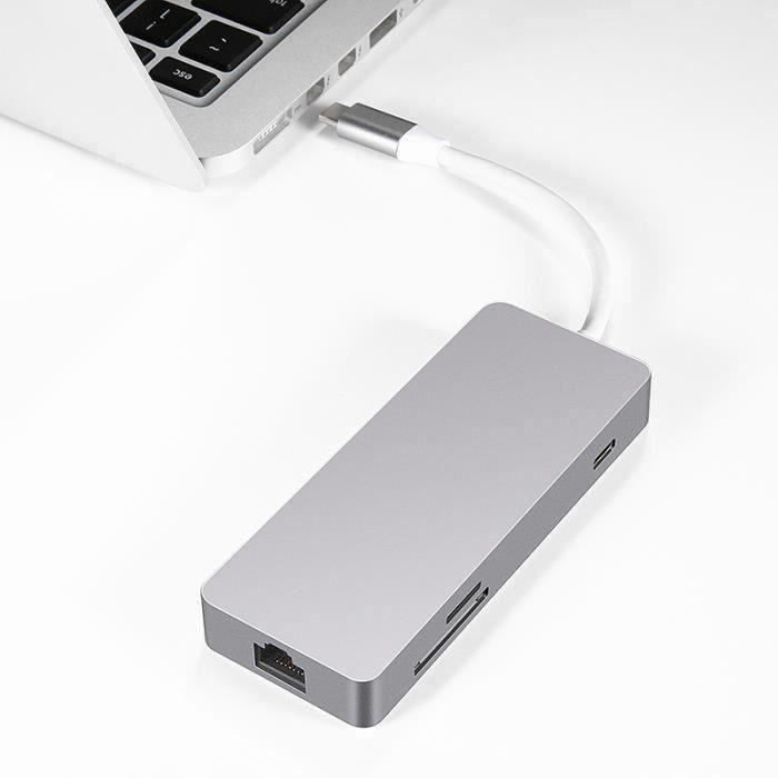 Convertisseur 7 ports mult Type-C USB C Hub HDMI Ethernet SD TF L52264