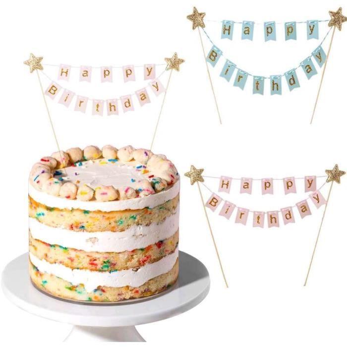 CAKE OR 2Pcs Cake Topper Anniversaire Bleu Rose Reacuteglable DIY Deacutecoration Cake Topper Anniversaire Mousseux pour Fecir891