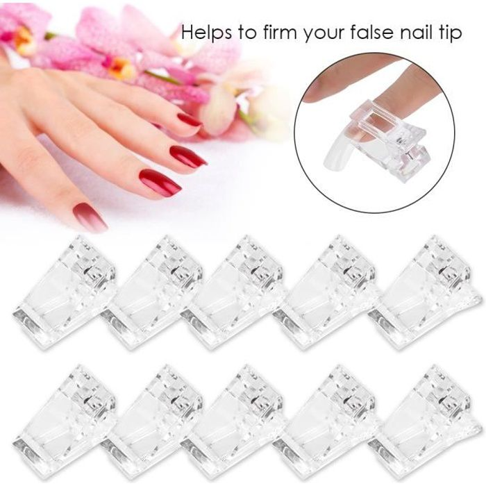 10x Clip Ongle Gel Clip Ongle Polygel, Pinces à Ongles Polygel, Pinces à Ongles Transparentes et pratique, salon HB047