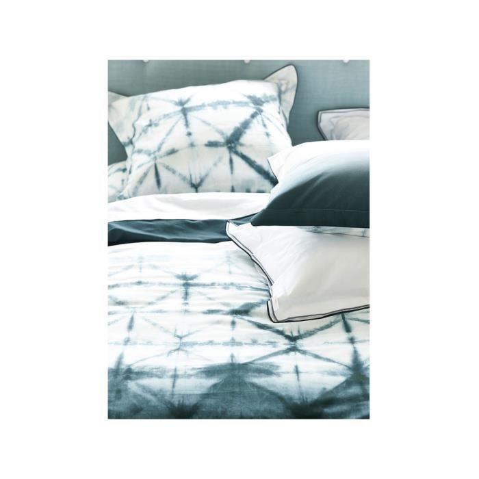 Taie d'oreiller 65x65 satin de coton gris et blanc motif tie and dye SERAYA GRAPHITE