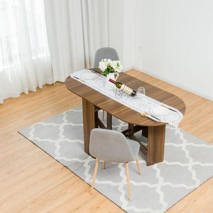 DREAMADE Table de Salle à Manger Pliante, Table Pliante de Cuisine Multifonctionnelle avec Plateau Ovale, Economiser de l'Espace