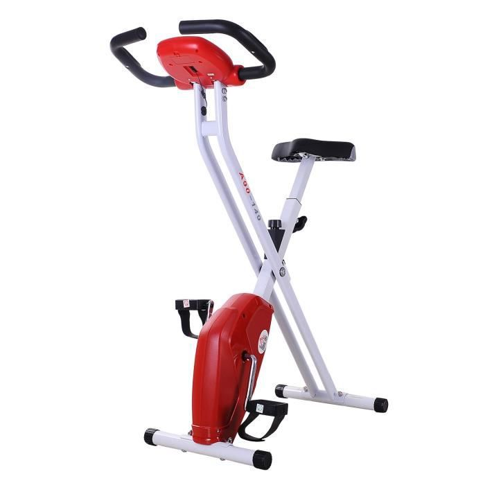 Vélo d'appartement cardio Fitness pliable écran LCD 8 niveaux de résistance selle réglable blanc rouge noir 49 115x38,5x22cm Rouge