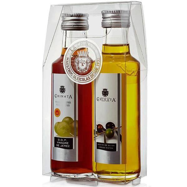 Ensemble huile d'olive et vinaigre (verre) - La Chinata (2 x 100 ml)