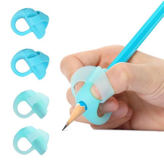 Guide Doigt Enfant, Grips pour Crayon Ergonomique Aide Ecriture pour Enfant, Ensemble de 4 (Bleu)