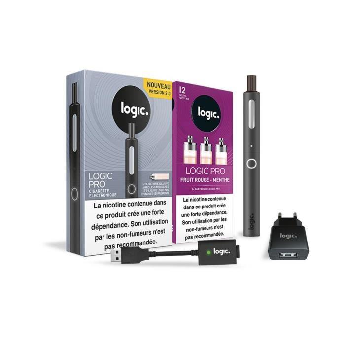 Logic PRO - Cigarette électronique Noir + 3 cartouches Fruit Rouge Menthe 12 mg + Chargeur USB et mural
