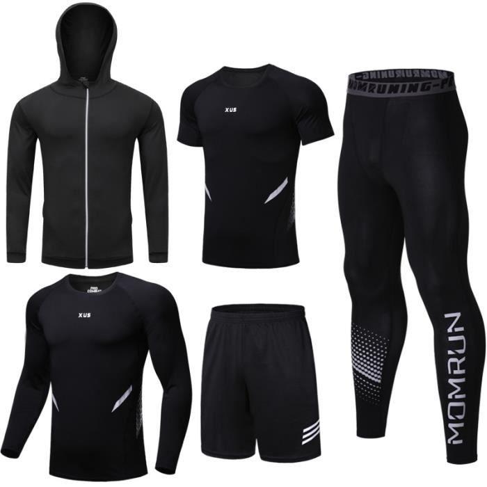 Tenue complète de compression 5 pièces Vêtements de fitness Collante T-SHIRT+Maillot+Short+Leggings+Veste Costume de jogging gym