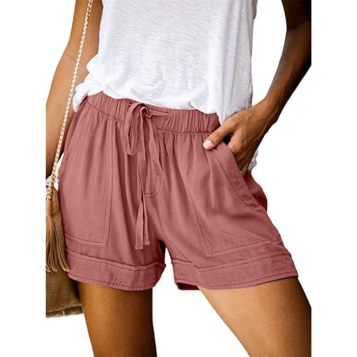 Short d'été femme Short à taille élastique avec cordon de serrage pour femme