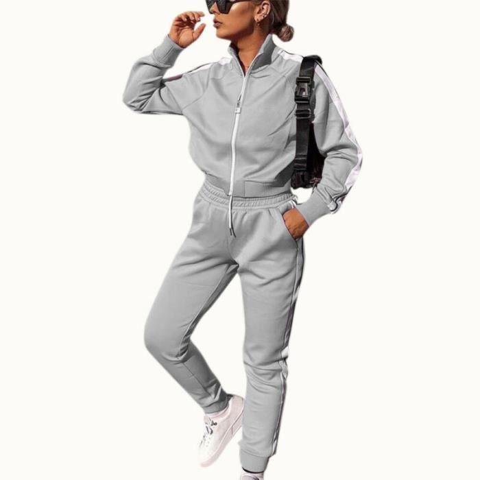 2PCS Ensemble de vêtements pour femmes Tenues de Dames Hauts Pantalons + Casual chemise à manches longues Loungewear Gris