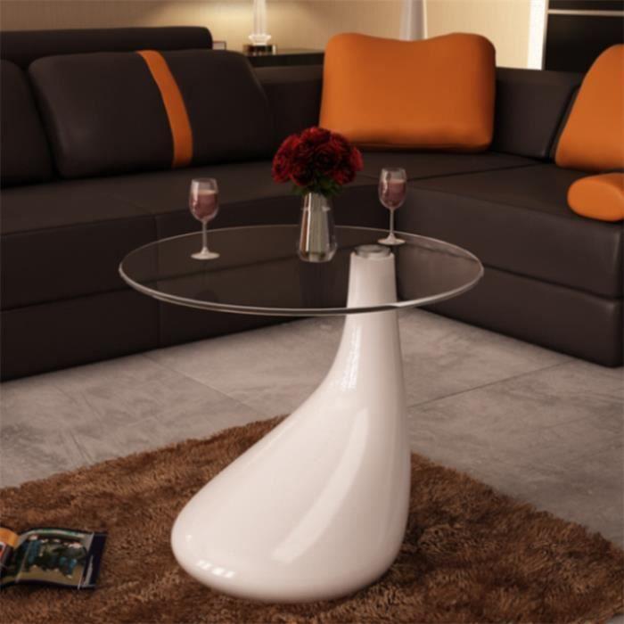 Table Basse De Salon Laquée Design En Forme D'Une Goutte D'Eau Blanche