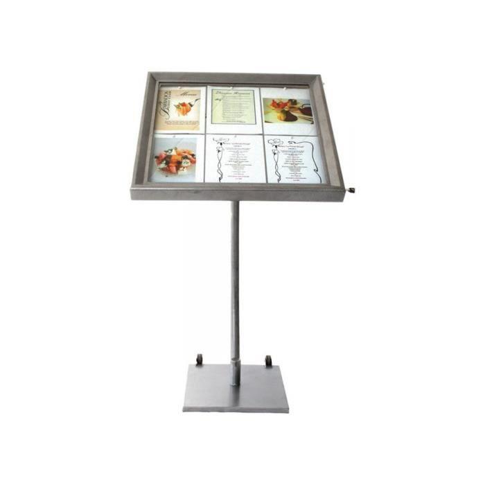 Porte-menu LED gris métallisé format 6 x A4 avec pied hauteur 95 cm - Présentoir menu hôtel restaurant 40 Acier Inoxydable