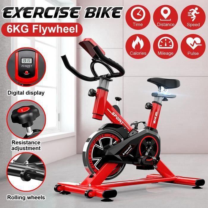 TEMPSA Vélo d'Appartement Gym à Domicile avec MONITEUR LED ROUGE