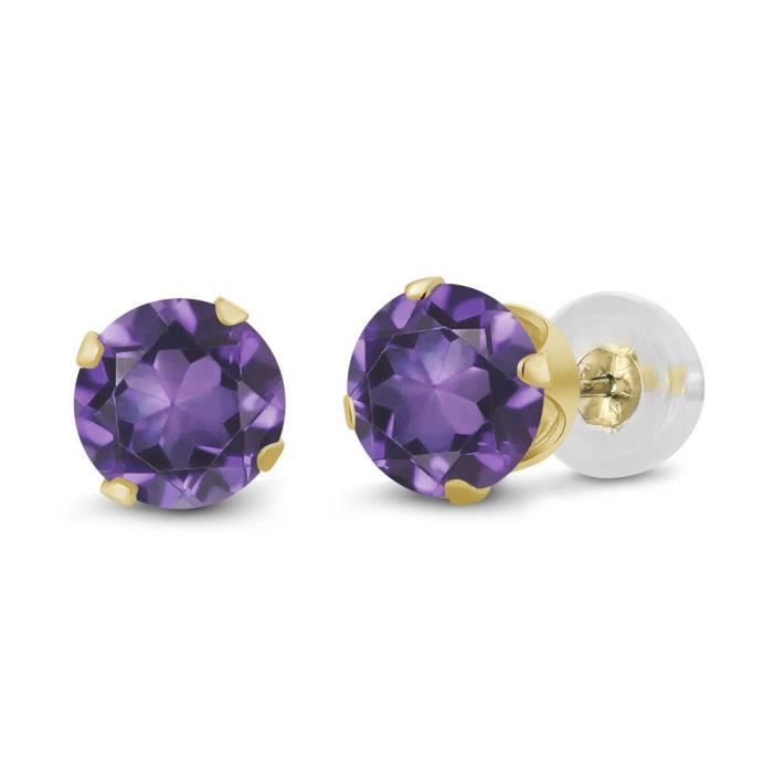 Womens 14k Yellow Gold Purple Amethyst Gemstone Birthstone Stud Earrings (0.90 Cttw, Round 5mm) SCIIX