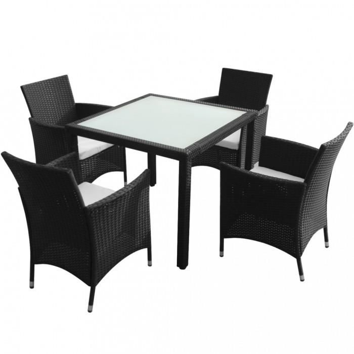 ensembles de meubles d 39 exterieur ensemble table 4 chaises rotin noir achat vente table a. Black Bedroom Furniture Sets. Home Design Ideas
