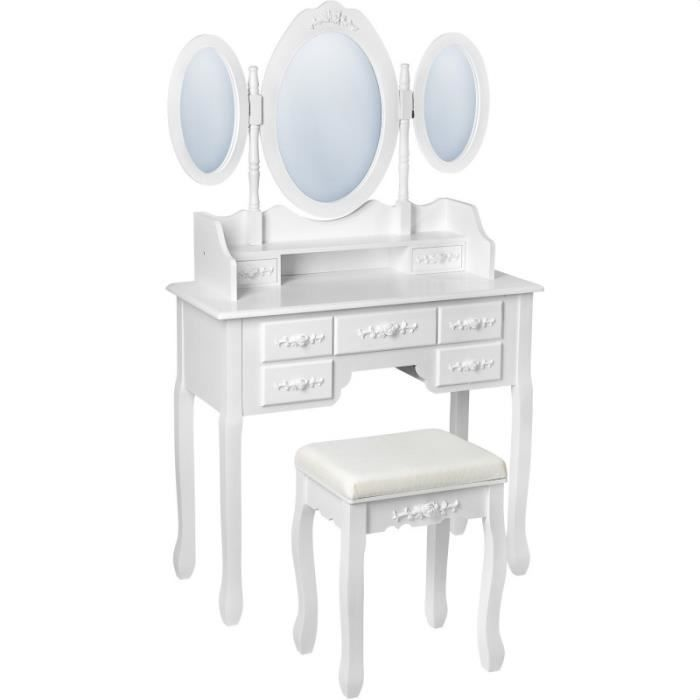 table de maquillage avec 7 tiroirs miroir et tabouret achat vente coiffeuse table de. Black Bedroom Furniture Sets. Home Design Ideas