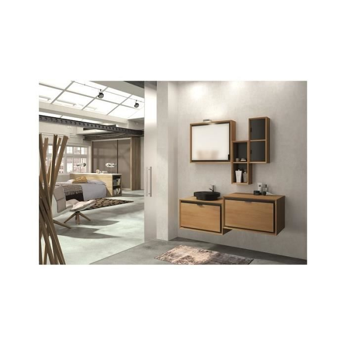 meuble de salle de bain suspendu domino 140 cm50 cm avec. Black Bedroom Furniture Sets. Home Design Ideas