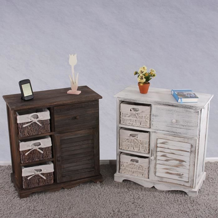 armoire avec 3 paniers 63x60x30cm blanc vintage chic. Black Bedroom Furniture Sets. Home Design Ideas