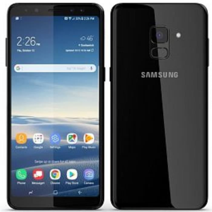 samsung galaxy a8 2018 dual sim 64go noir smartphone d bloqu achat smartphone pas cher. Black Bedroom Furniture Sets. Home Design Ideas