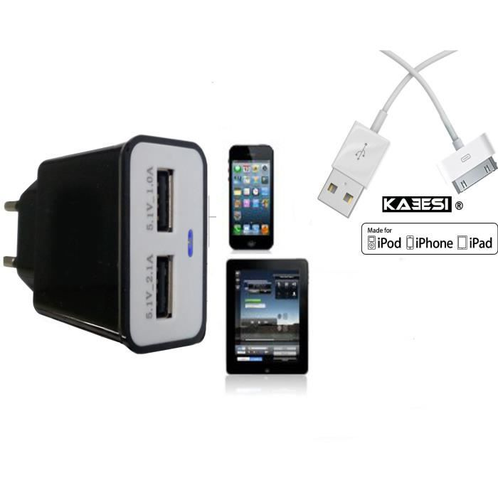 chargeur secteur ipad 2 3 4 iphone 5 cable puissant. Black Bedroom Furniture Sets. Home Design Ideas