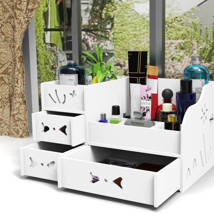 Organiseur / Rangement Maquillage Tiroir en Bois pour Cosmétiques pour  Salle de Bain/ Bureau Boîte de rangement ( Blanc)
