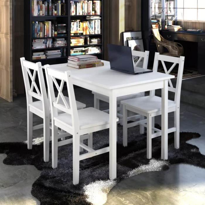 1 Ensemble Table En Bois 4 Chaises Couleur Blanc