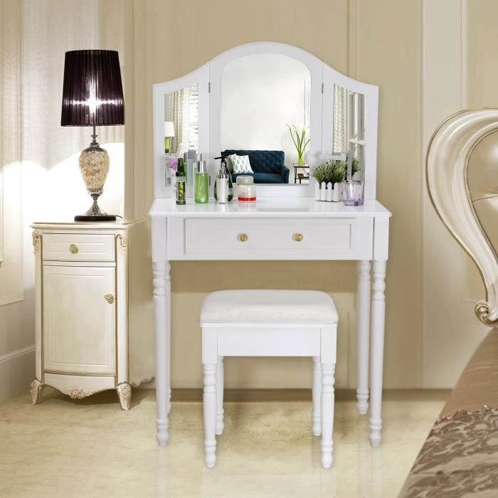 songmics coiffeuse meuble blanc table de maquillage commode avec 3 miroirs rabattables et. Black Bedroom Furniture Sets. Home Design Ideas