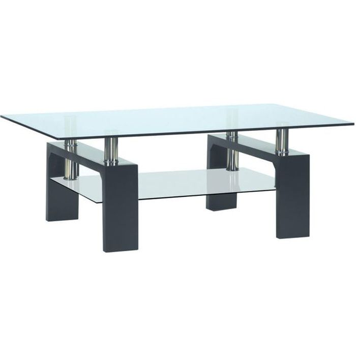 table basse moderne rectangulaire noire gloria 2 achat vente table basse table basse moderne. Black Bedroom Furniture Sets. Home Design Ideas