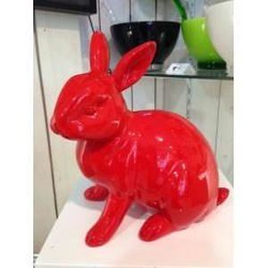 statue lapin rouge laqu pm achat vente statue statuette r sine polyester cdiscount. Black Bedroom Furniture Sets. Home Design Ideas