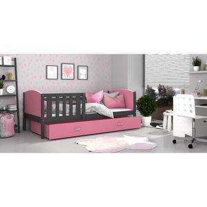 LIT COMPLET Lit enfant Tomy 90x190 GRIS ROSE Livré avec tiroir