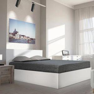 STRUCTURE DE LIT Lit coffre MADRID 140X200 + 1 sommier / Blanc