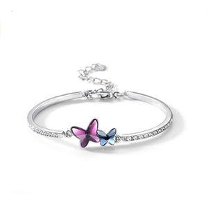 Femme Plaqué Argent Charme Bracelet Avec Violet Papillon Cristal Rigide Poignet