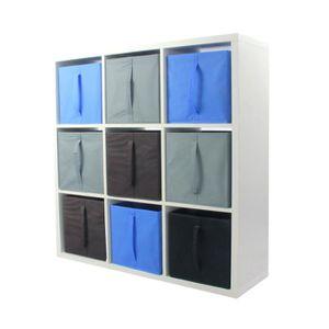 MEUBLE ÉTAGÈRE COMPO Meuble De Rangement 9 Cases + 9 Cubes Bleu/G