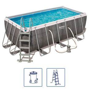 PISCINE Bestway Jeu de piscine rectangulaire Power Steel 4