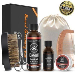 KIT RASAGE Kit barbe, Breett Kit de Soins de Barbe 6pcs, Huil