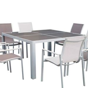 table jardin alu verre achat vente table jardin alu verre pas cher cdiscount. Black Bedroom Furniture Sets. Home Design Ideas