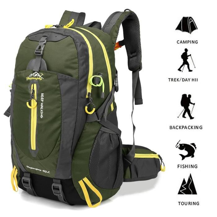40L résistant à l'eau voyage sac à dos Camp randonnée sac à dos pour ordinateur portable Trekking monter dos sacs [919EE5B]