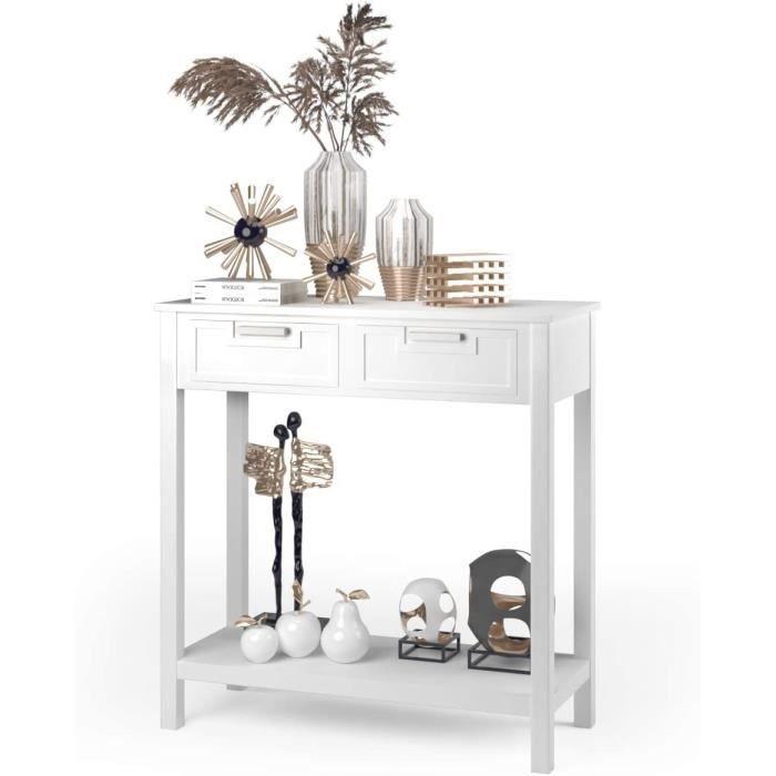 COSTWAY Table de Console avec 2 Tiroirs Table d'Appoint avec Pieds en Bois d'Acacia Meuble d'Entrée pour Salon, Chambre,Couloir
