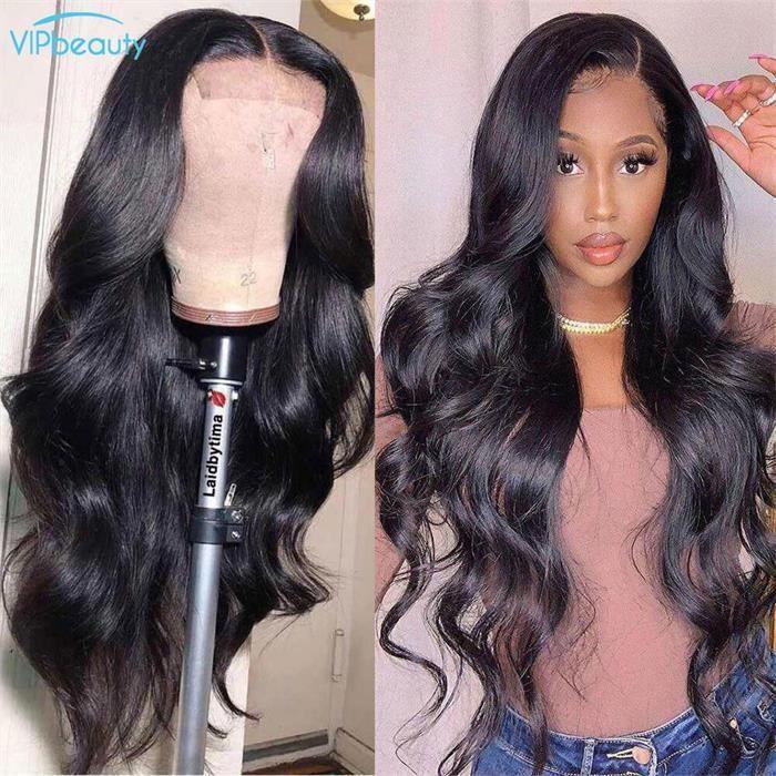 Perruque Lace Frontal Cheveux Brésilien 4*4 Lace HD 22 Pouce Ondulée Perruque Femme VIPbeauty Hair