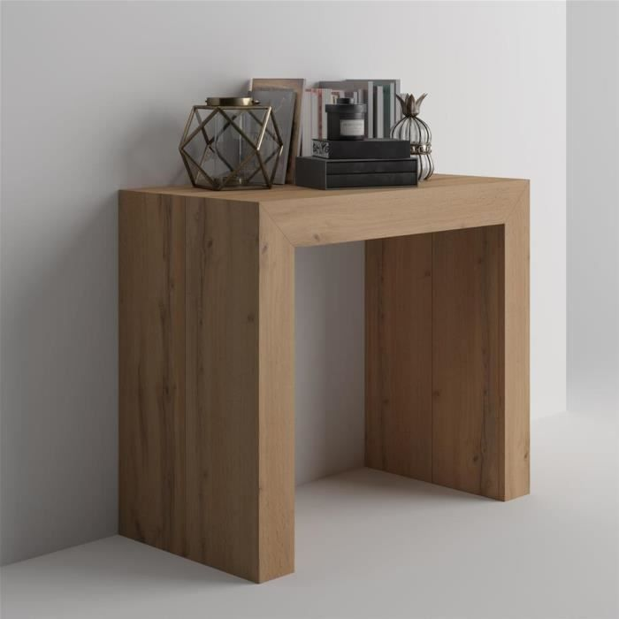 Mobili Fiver, Table Console extensible Angelica, Bois Rustique, Mélaminé/Aluminium, Made in Italy